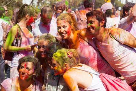 BARCELONA, SPAIN - APRIL 6, 2014: People in paint pigments at IV Festival of colors Holi Barcelona