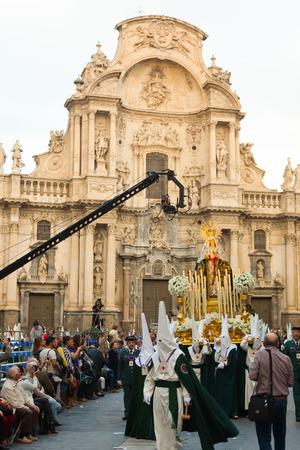 semana santa: MURCIA, SPAIN - APRIL 15, 2014: Semana Santa in Murcia. Holy Week is  annual commemoration  by Catholic religious brotherhoods