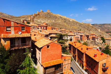 General view of town with fortress wall. Albarracin, Aragon, Spain photo