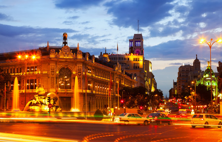 Plaza de Cibeles in evening. Madrid, Spain photo