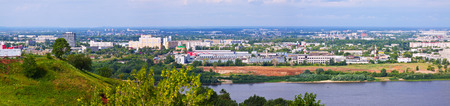 oka: panoramic view of  industry district at Nizhny Novgorod in summer. Russia Stock Photo