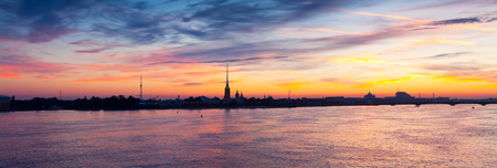 Panoramic view of Neva river in dawn. Saint Petersburg, Russia photo