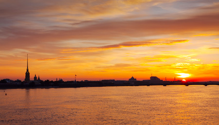 view of Neva river summer dawn. St. Petersburg, Russia photo