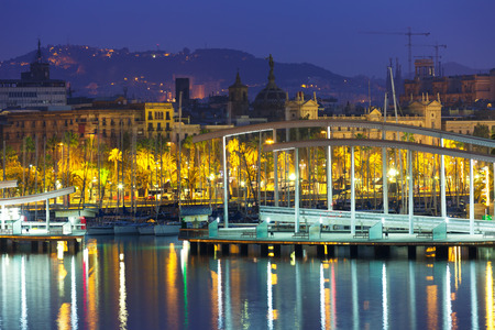 columb: Bridge at Port Vell during morning. Barcelona, Spain Stock Photo