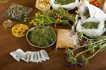 herbs at table in home  photo