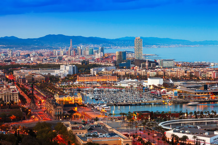 vacaton: Port Vell during sunset from Montjuic. Barcelona
