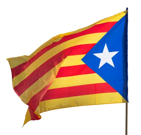 independency:  Flying Catalonia  flag. Isolated over white background