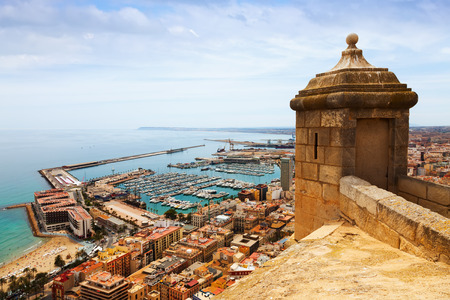 alicante: Old castle over Port  in Alicante with docked yachts. Spain Stock Photo