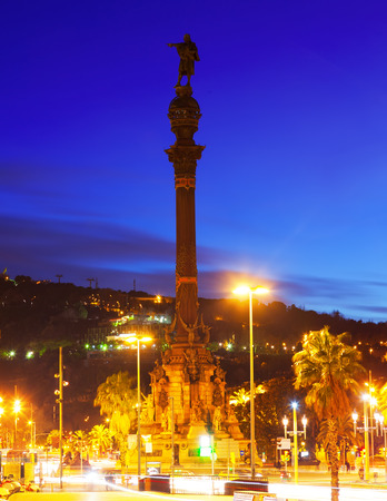 columb: Evening view of Columbus monument. Barcelona,  Spain