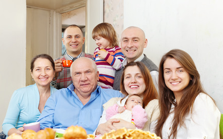 Portrait of big happy family communicate  at home