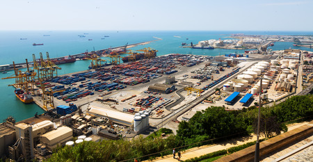 BARCELONA, SPAIN - JUNE 21, 2014: Port of Barcelona -  logistics port area in Barcelona, Spain.  Has more than 3,000 metres of berthing line