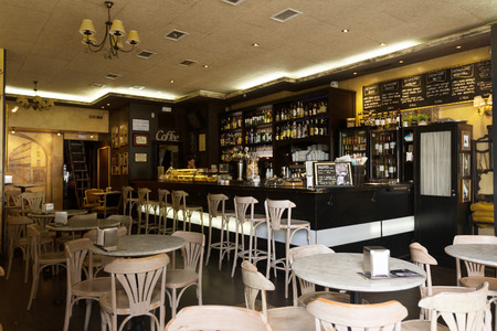LOGRONO, SPAIN - JUNE 28, 2014: Ordinary cafe in Logrono, La Rioja.  City is centre trade in Rioja wine, for which the area is noted