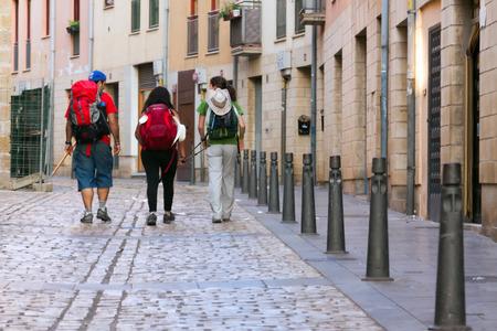 LOGRONO, SPAIN - JUNE 28, 2014 Pilgrims walking along way of St James Camino de Santiago in Logrono La Rioja