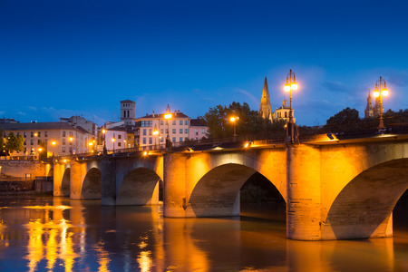 Evening view of Logrono. Puente da Piedra over Ebro. La Rioja, Spain Stock Photo