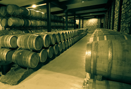 Old image of many wooden barrels in wine cellar