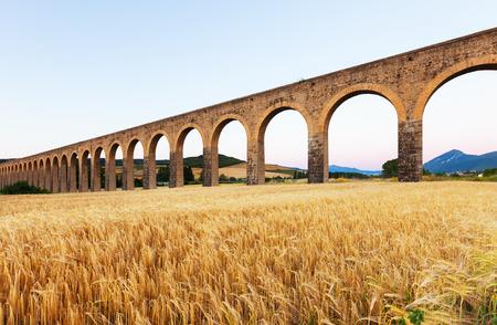 acueducto: Acueducto de Noain near Pamplona  Navarre  Spain  Stock Photo