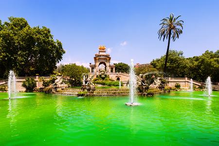 Cascada fountain in Barcelona in sunny day. Catalonia, Spain photo