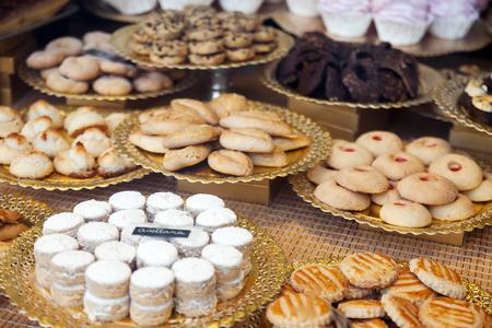 store window: fresh cakes at store window Stock Photo
