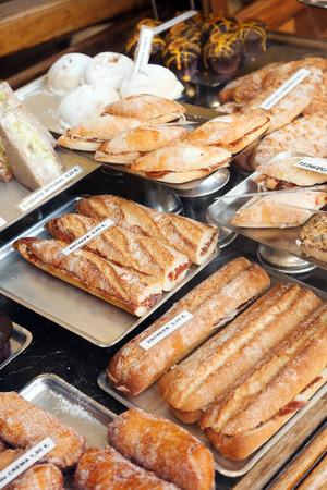Different Spanich sandwich - bocadillo at shop window photo