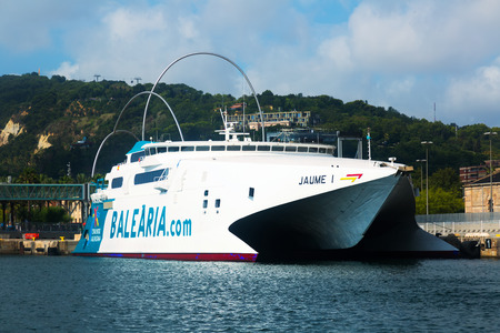 seabus: BARCELONA, SPAIN - JULY 6, 2014: Catamaran ferry at Port.  Barcelona, Spain