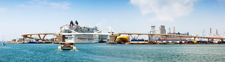 cruiseliner:  Panorama of Cruiser terminals at the Port of Barcelona.  Spain