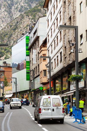 tourism in andorra: ANDORRA LA VELLA, ANDORRA - MAY 8  Street at Andorra la Vella in May 8, 2013 in Andorra la Vella, Andorra Andorra la Vella is  capital of the Principality of Andorra