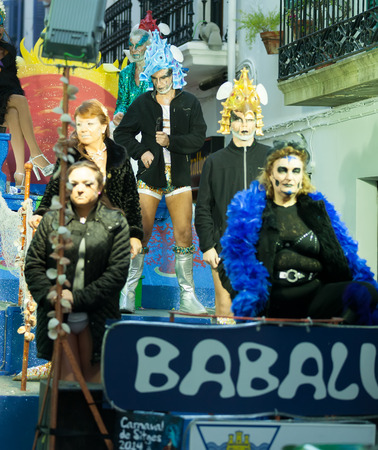 mummery: SITGES, CATALONIA - MARCH 5, 2014: Last day of Sitges Carnival. Burial Carnestoltes  - Burial of the Sardine