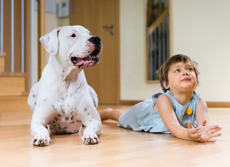 Cute female toddler on the floor with dogo Argentino (focus on dog)  photo