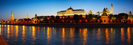 kreml: Panorama of Moscow Kremlin in summer night. Russia Stock Photo