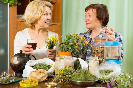 Two mature pensioner sitting at the table with herbal tea and herbs photo
