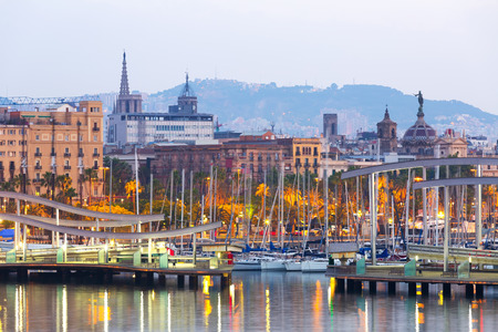 columb:  Port Vell in morning. Barcelona, Spain