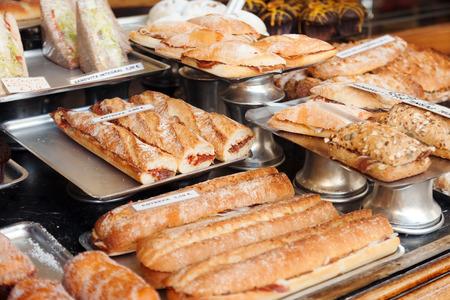 assortment of Spanich sandwich - bocadillo at shop window photo