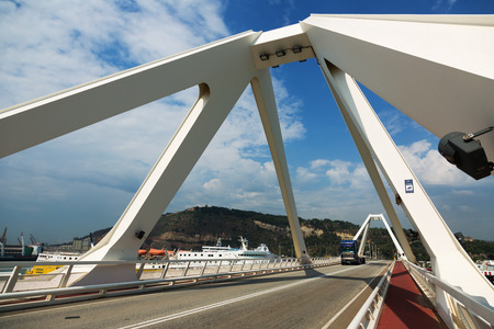 cruiseliner: BARCELONA, SPAIN - AUGUST 1, 2014: Bridge over cruiser terminals at Port of Barcelona Editorial