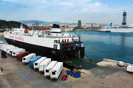 seabus: BARCELONA, SPAIN - AUGUST 1, 2014: Ferry during loading at Port Vell.  Barcelona