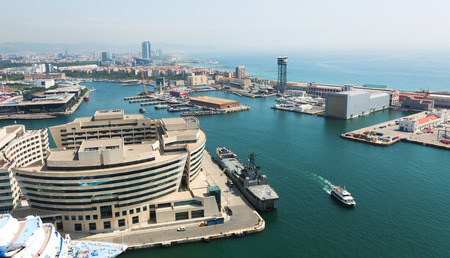 cruiseliner: Aerial view of Main building of Port Vell. Barcelona, Catalonia