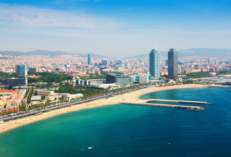 aerial view of Barcelona from Mediterranean. Barceloneta beach and Port Olimpic photo