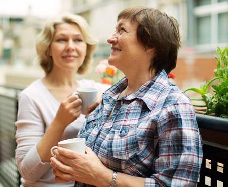 Two elderly housewives enjoying tea at terrace with decorative plants Stock Photo - 30930560