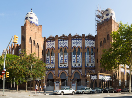 monumental: BARCELONA, SPAIN - JULY 12, 2014: Exterior of Plaza Monumental de Barcelona. Catalonia