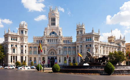 palacio de comunicaciones: MADRID, SPAIN - AUGUST 29: Day view of Palace of Communication on August 29, 2013 in Madrid, Spain. Palace of Communication, since 2011 named Cibeles Palace  Editorial