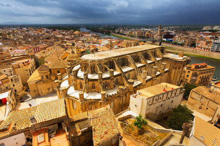 ebre: Tortosa with Cathedral from Suda castle. Catalonia, Spain