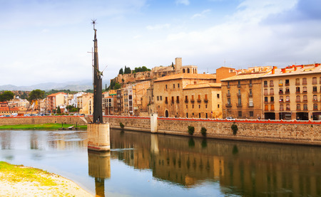 ebre: View of Tortosa. Monument to  Battle of the Ebro at river  and Suda Castle