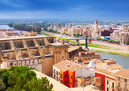 ebre: general view of Tortosa with Cathedral from Suda castle.  Stock Photo