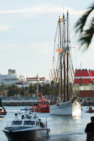 BARCELONA, SPAIN - JANUARY 5, 2014: Cavalcade of Magi in Barcelona, Spain. Arrival of the Magi to Barcelona by boat