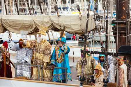 melchior: BARCELONA, SPAIN - JANUARY 5, 2014: Cabalgata de Reyes Magos in Barcelona. Arrival of the Magi to Barcelona