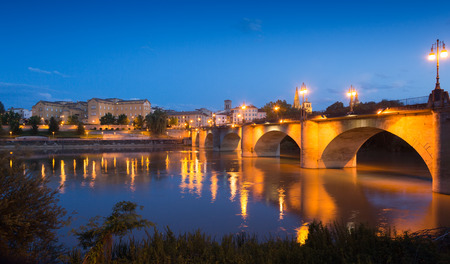 la rioja:  Puente da Piedra over Ebro river in evening. Logrono Stock Photo