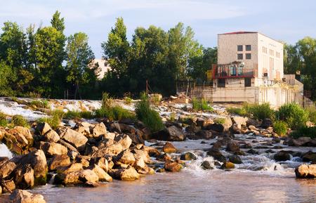 hydropower plants:  dam at Ebro river. Logrono, La Rioja