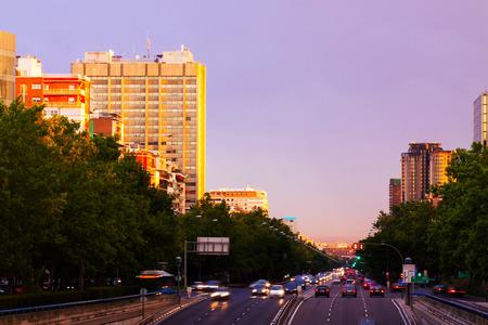 paseo: Paseo de la Castellana in sundown.  Madrid, Spain