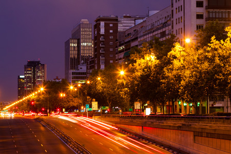 paseo: Paseo de la Castellana in evening time.  Madrid, Spain Stock Photo