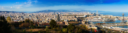 Panorama of Barcelona with Port in  day. Catalonia, Spain photo