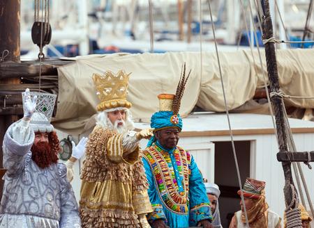 BARCELONA, SPAIN - JANUARY 5, 2014: Cabalgata de Reyes Magos in Barcelona, Spain. Arrival of the Magi boat